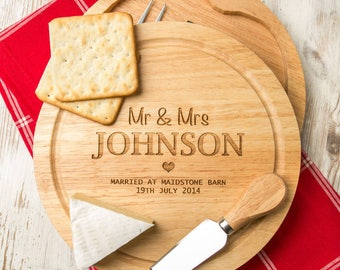 Personalized Wood Anniversary Gift Wedding Cheese Board and Knife Set 5th Anniversary Gift
