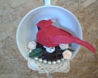 Teacup Tea Cup Bird Cardinal Christmas Ornament