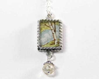 The Birch Tree, a Hand-painted Watercolor Necklace in Small Silver Square with Citrine Bead