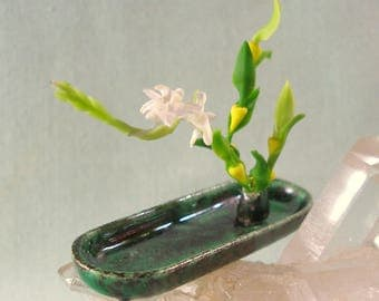 Dollhouse Miniature Long Tray Ikebana in Malachite with Orchid for One Inch Scale Dolls House
