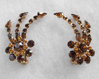 Vintage Earrings, Juliana-Style, Rootbeer and Amber, Clip-on Style, ca 1960s NT-1177