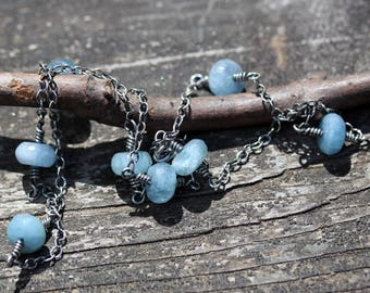 Faceted aquamarine sterling silver layering necklace