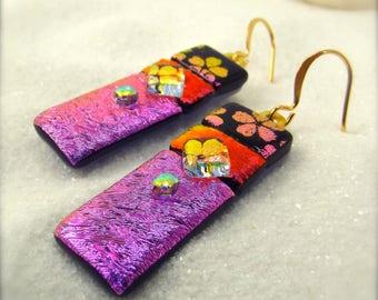 Dichroic earrings, dichroic glass jewelry, fused glass art, glass earrings handmade, trending now, hana sakura designs, gold plated jewelry