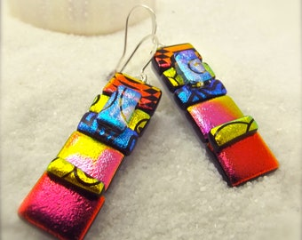 Fused glass earrings, Dichroic Fused glass Earrings, dichroic glass, dichroic,statement jewelry,jewel toned,Hana Sakura,handcrafted earrings