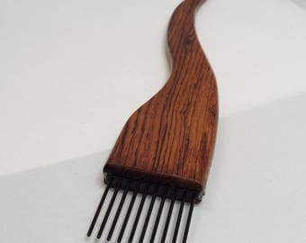 Weaving beater, weaving fork, tapestry fork, threadsthrutime, thomas-creations, COARSE, Honduran Rosewood