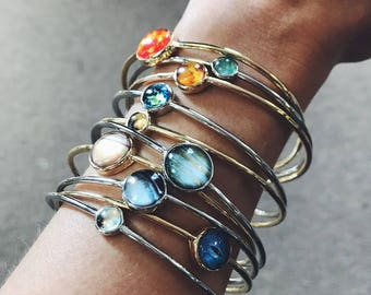 Solar System Bracelets - Stacking Set of Gold and Silver Planet Bracelets - Outer Space Jewelry - Galaxy Jewellery - Milky Way Bangle