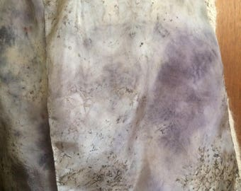 Mulberries and Black Walnut  - naturally dyed silk scarf, ecofriendly fashion, one of a kind wearable art