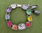 MONOPOLY  - Altered Vintage Typewriter Key Bracelet - Upcycled Repurposed Game Real Estate Pieces