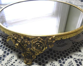 Vintage Plateau Mirrored Vanity Tray Gold Tone Ornate Rose Cluster Legs