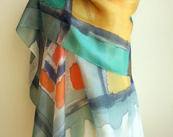 Hand Painted Silk Scarf. Silk shawl. Very large silk scarf. gifts. Hand Painted Silk Shawl. 78x36 in (200x90 cm). Wedding Gift. Giveaways