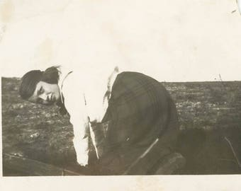 vintage photo Rear View Young Woman Looks Back at Camera Crawling on Hands & Knees