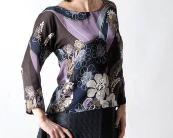 Loose womens top in Brown, purple and blue, Floral print top, Womens blouse, Womens clothing, Fall fashion, Womens tops, MALAM