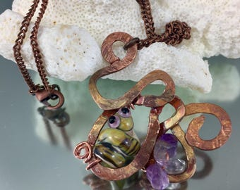 glass snake necklace,raku lampwork worm, amethyst necklace, glass jewelry, hammered copper jewelry, whimsical worm, glass snake necklace