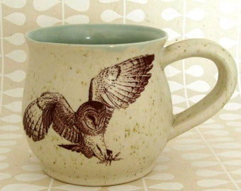 Handmade Mug - Coffee Mug  - Pottery Mug - Hand Thrown Mug - Barn Owl -11 oz - Hand Thrown Pottery