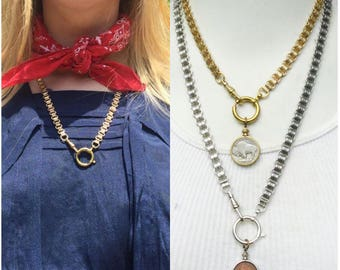Book chain Necklace. Repro Victorian Pocket Watch Chain Gold Silver Wide Chunky Fancy charm holder lanyard Haute Bulk Options wholesale c39