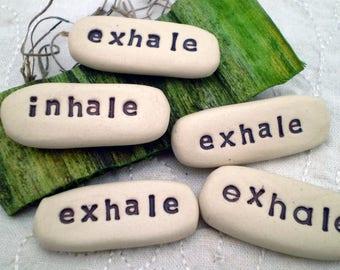 Inhale Exhale Pocket Token, Meditation Words, Intention Words, Yoga Gift, Mindfulness Gift, 2 Sided Pocket Word