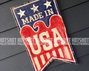 Made in USA, America, Americana, Stars, Stripes, Red, White, Blue. Vintage-looking upcycled wood sign, hand made, hand painted