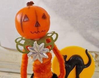 Pipe Cleaner Jack O' Lantern Figure / Vintage Craft Supplies / Free-Standing Figure / Vintage Style / Halloween / Black Cat
