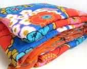 Vintage 1970s Sleeping Bag, Frankenstolz Adult Sleep Sack, Mod Flower Power Floral, 70s Bedding, Quilt Blanket, Camping Gear, Glamping.