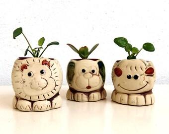 3 Vintage Animal Planters, Ceramic Pottery, Cache Pots for Small Indoor Plants, Mid Century Modern European, Fun Room Decor, Set of Planters