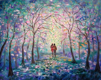 Oil painting  Abstract  18 x 24  Springtime Walk - Cherry Blossoms - FREE SHIPPING in US