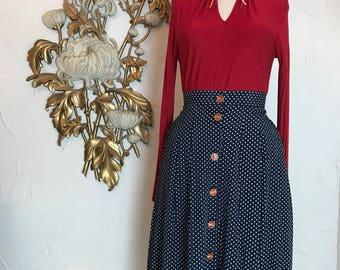 1980s skirt polka dot skirt navy blue skirt size medium Vintage skirt skirt with pockets 80s skirt full skirt midi skirt