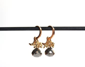 Pyrite and Gold Nugget Cluster/Round Lever Back Ear Wires/Handmade Jewelry/Miriam Ariano Jewelry/Gift for Her