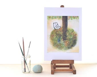bird painting, whimsical wall studio, summer tree, swirl, earth tone art, office desk decor, positive quote, gift for him, graduation gift