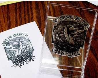 Super Summer Sale Personalized Sailing Ex Libris Bookplate Rubber Stamp A02