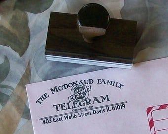 Xmas in July Telegram Antique Custom Return Address Rubber Stamp AD122a