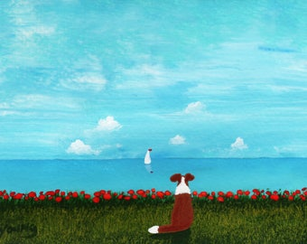 Sheltie Collie Dog LARGE Art Print Todd Young painting OCEAN SKY