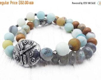 dragonfly bracelet, amazonite bracelet, Hill Tribe silver, stacking bracelet, boho bracelet, boho jewelry, gemstone bracelet, pastel