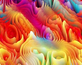 Vibrant Colors Designer Textile Artist Created Faux Suede Home Decor Fabric Fiber Art