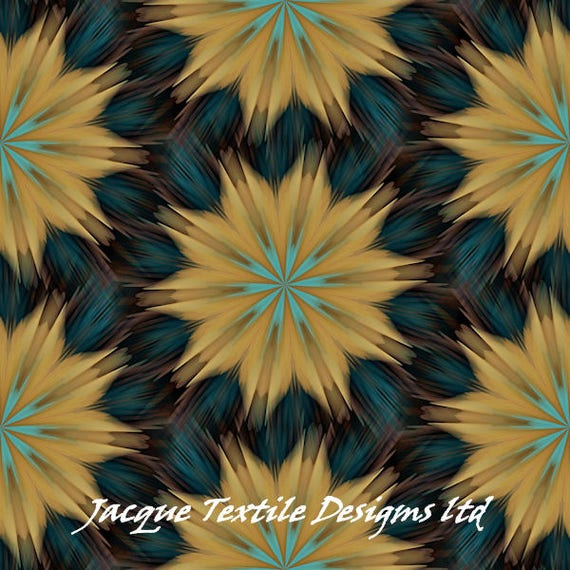 Teal Yellow Gold ART Quilting Cotton Fabric Panel Artist Made Fiber Art  Home Decor Fabric