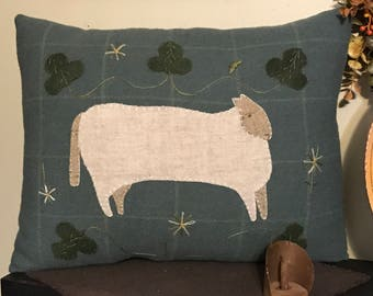 Lamb in the Clover Wool Appliqué Pillow