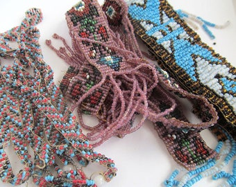 Art Deco French Sautoir Necklaces, Loomed Beadwork, Native American Beadwork, Destash Antique Beads, Flapper Beads, Moonlilydesigns