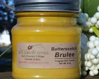 BUTTERSCOTCH BRULEE SOY Candle - Fall Candles, Winter Candles, Butterscotch Candles, Soy Candles