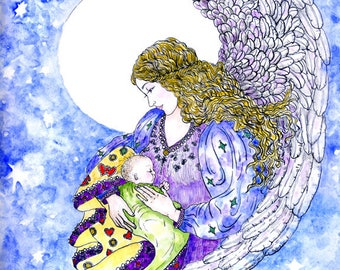 Guardian Angel Mother and Child Fine Art Print Nursery New Baby Gift Mother's Day Pen and Ink Watercolour Illustration
