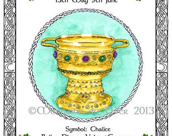 Celtic Zodiac Lunar Astrology Signs Print Druid Tree Lore May-Sept Birthday Chalice White Horse Unicorn Salmon Pagan Altar Art Pen and Ink