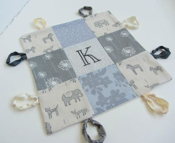 Baby Lovey Girl Blanket with Custom Hand Embroidery Name Or Initial ~ Choice of Backing Fabric ~ Gray Floral ~Animals ~ Gray Beige White