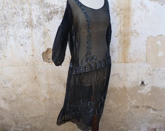 Vintage 1920s French Evening Flapper dress /black silk chiffon  embroidered beads & sequins    size M/L/XL