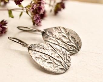 Relic Earrings- - Modern Rustic Silver Earrings, Botanical Earrings, Unique Silver Earrings, Everyday Wearable Earrings, Light Weight