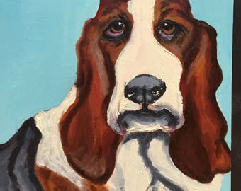 Frowning Basset Hound on Sky Blue Original Oil Painting Daily Painting