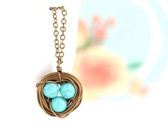 Mothers  Necklace - Turquoise Bird Nest Necklace  - Gift for Mom - Family Jewelry - Gift For Mother - Woodland Necklace - Mommy Jewelry