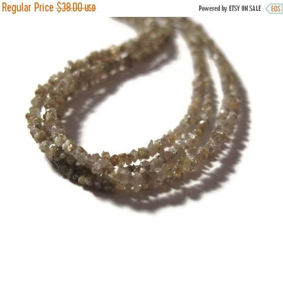Summer SALEabration - Light Brown Rough Diamond Beads, Natural Raw Diamond Beads, Conflict Free, 8 Inch Strand for Jewelry Making (S-Di7)