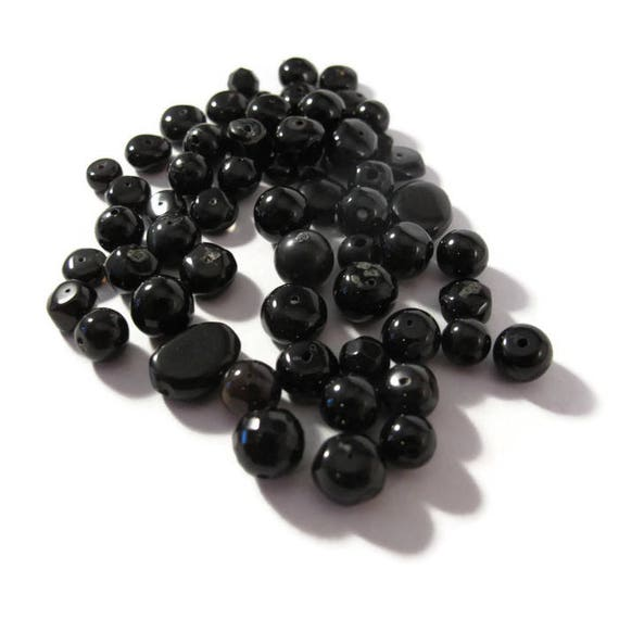 Gemstone Bead Mix, Black Gemstone Grab Bag, 60 Beads for Making Jewelry, Assorted Shapes and Sizes (L-Mix17d)