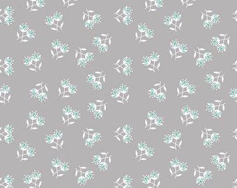 Flora and Fawn by Amanda Herring for Riley Blake, Flora Floral Gray, 1 yard