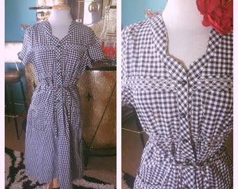 Vintage 1940s Dress black white gingham Print Swing Rockabilly Pinup L XL 40s