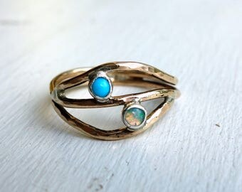 Opal and Turquoise Gold Handmade Split Ring