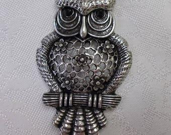Large Owl Pendant Charm Antique Silver Tone